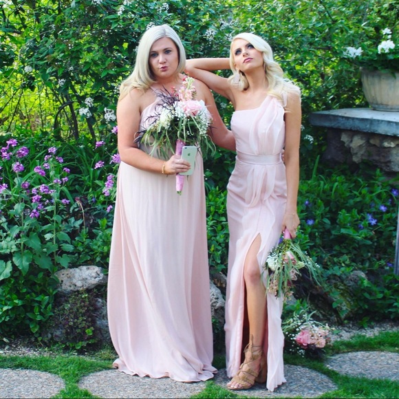 019f5844d13 Long One-Shoulder Bridesmaid Dress with Ruffles 0.  M 5aea4397f9e501c6c45eb63b